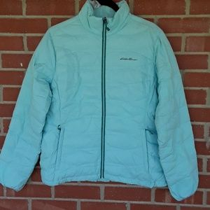 Eddie Bauer light blue winter puffer coat size L